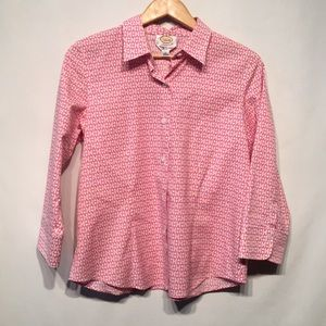 Talbots Pink Button Down Blouse Like New Sz 10